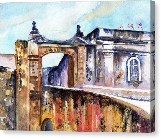 Spanish Fort Canvas Print - Castillo De San Cristobal Entrance by Carlin Blahnik CarlinArtWatercolor