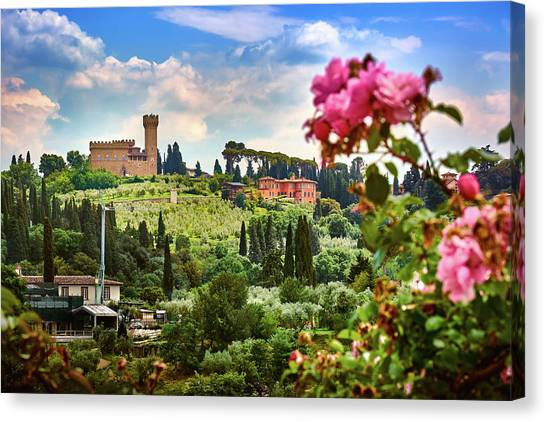 Castle And Roses In Firenze Canvas Print