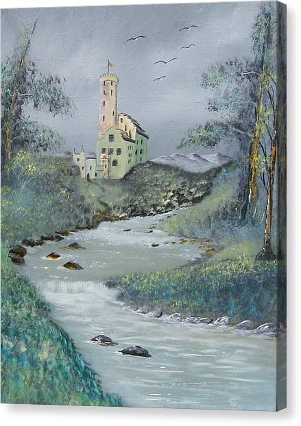 Castle By Stream Canvas Print by Tony Rodriguez