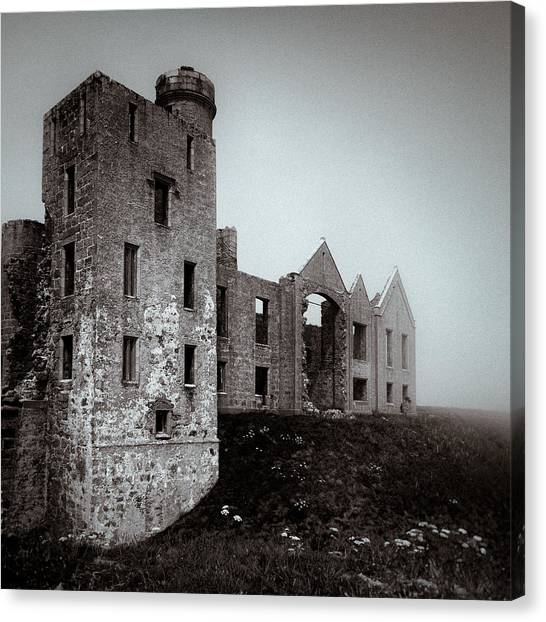 Fortification Canvas Print - Slains In The Fog by Dave Bowman
