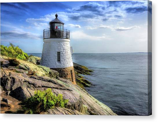 Canvas Print featuring the painting Castle Hill Lighthouse by Christopher Arndt