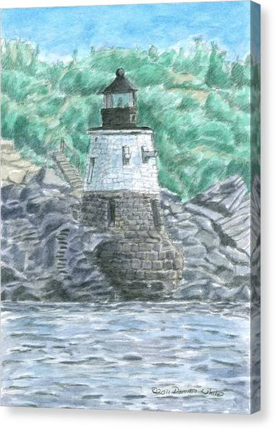 Canvas Print featuring the painting Castle Hill Lighthouse by Dominic White