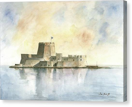 Greek Art Canvas Print - Castle Of Bourtzi In Nafplio by Juan Bosco