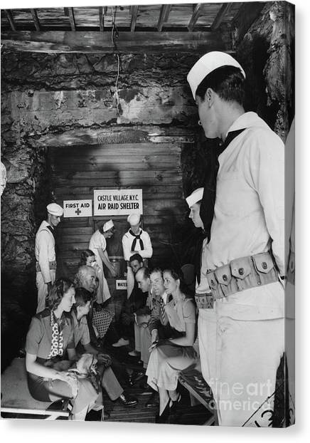 Castle Village Air Raid Shelter Canvas Print