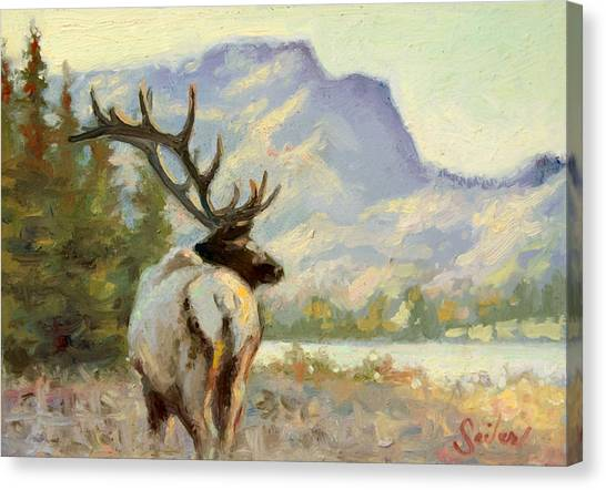 Casual Walk Elk Canvas Print by Larry Seiler