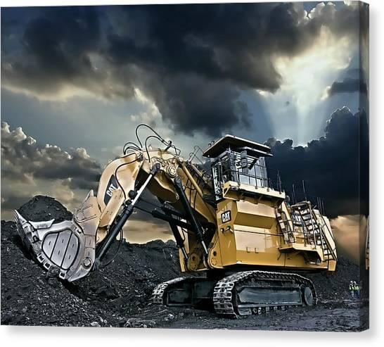 Backhoes Canvas Print - Cat 6030 Heavy Duty Excavator by Daniel Hagerman