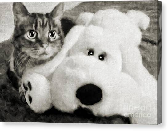 Andee Design Black Canvas Print - Cat And Dog In B W by Andee Design