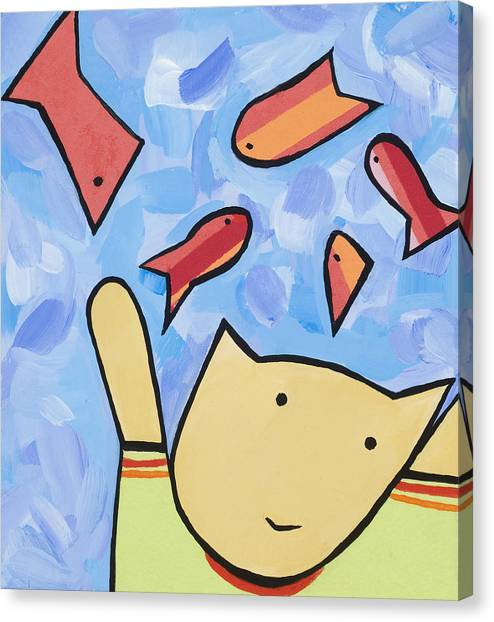 Cat And Fish Canvas Print by Michelle  Eggan