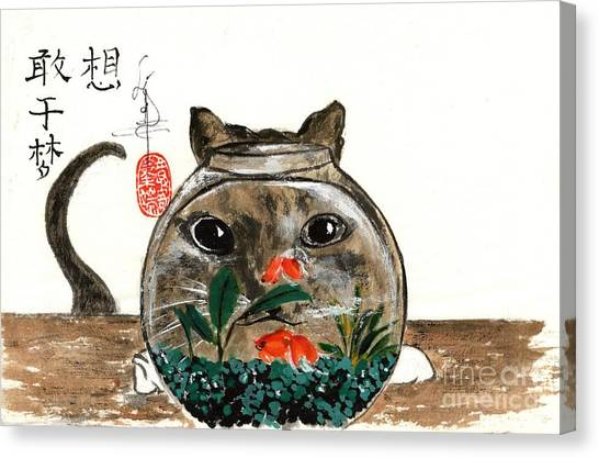 Cat And Fishbowl Canvas Print by Linda Smith