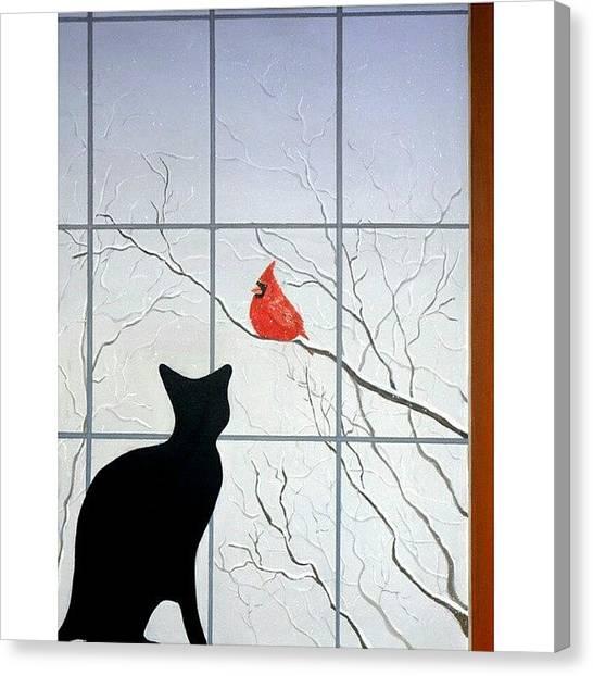 Songbirds Canvas Print - Cat And by Karyn Robinson