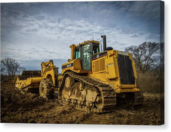 Backhoes Canvas Print - Cat Construction by Mike Burgquist