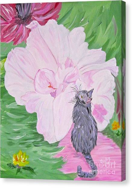 Pink cat canvas prints page 15 of 60 fine art america pink cat canvas print cat flower by phyllis kaltenbach mightylinksfo