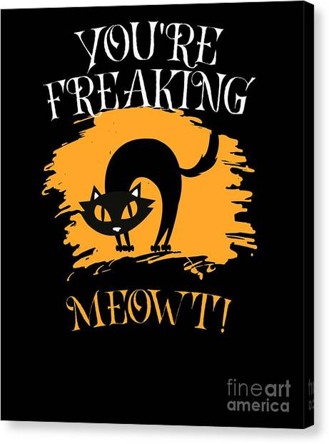Canvas Print - Cat Freaking Meow It Halloween Costume by Thomas Larch