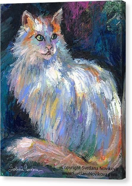 Mammals Canvas Print - Cat In A Sun Painting By Svetlana by Svetlana Novikova