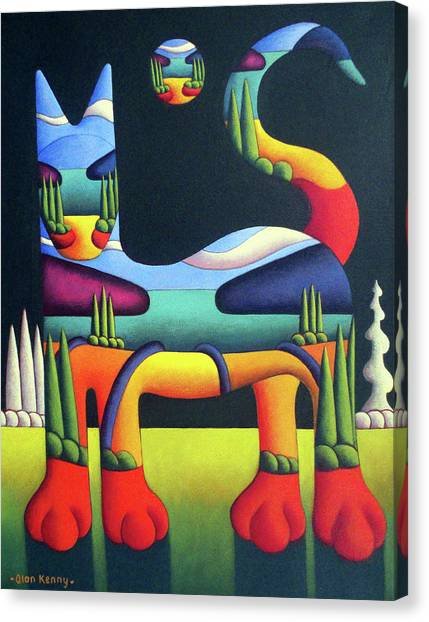 Cat In Landscape In Cat With White Trees  Canvas Print by Alan Kenny