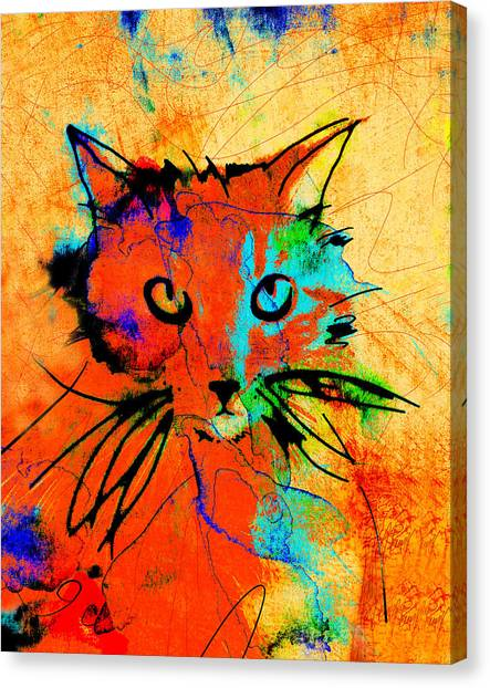 Cat In Red And Yellow Canvas Print