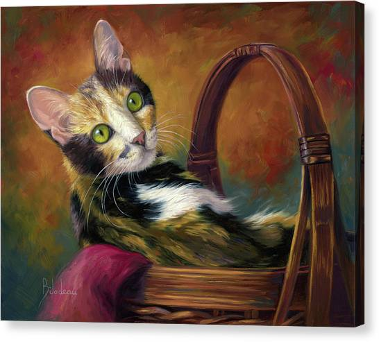 Domestic Canvas Print - Cat In The Basket by Lucie Bilodeau