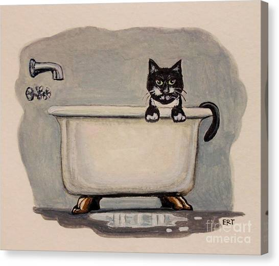 Cat In The Bathtub Canvas Print