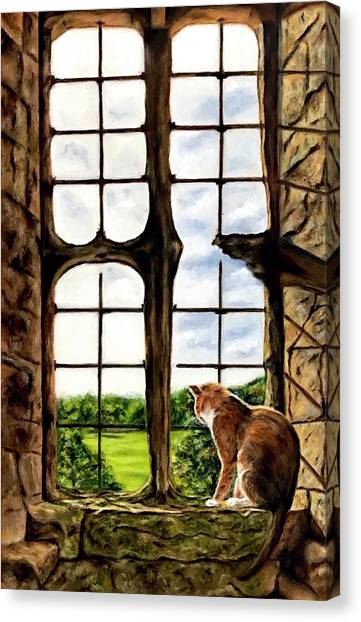 Cat In The Castle Window-close Up Canvas Print