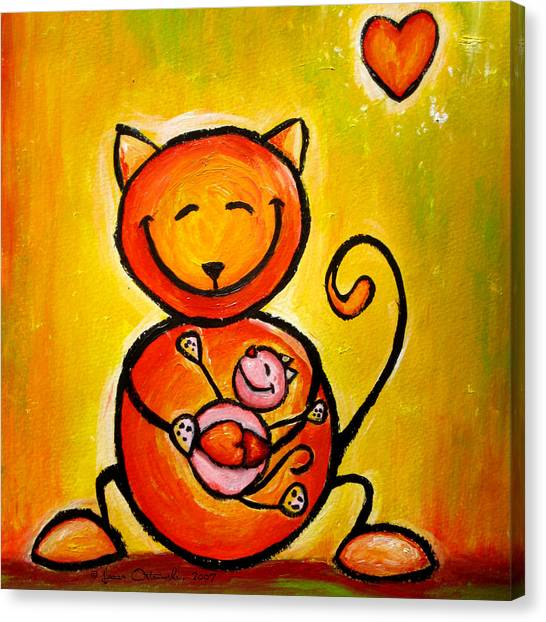 New Baby Canvas Print - Cat Loves Kitty by Laura Ostrowski