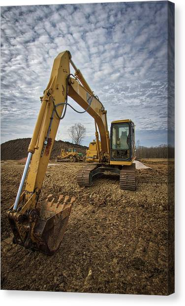Backhoes Canvas Print - Cat Machinery by Mike Burgquist