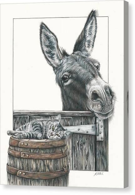 Cat On A Barrel Canvas Print