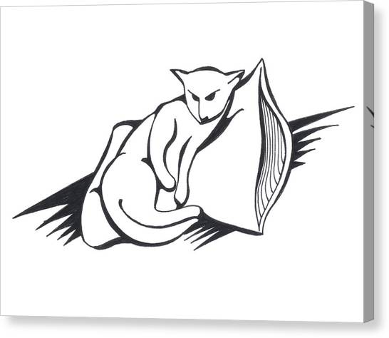 Canvas Print featuring the drawing Cat On Pillow by Keith A Link