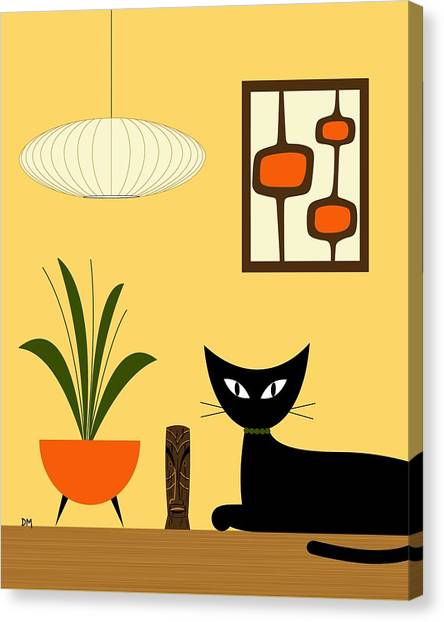 Cat On Tabletop With Mini Mod Pods 3 Canvas Print