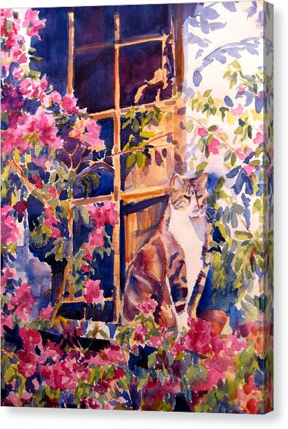Cat On The Sill In Trapani Canvas Print by Joyce Kanyuk