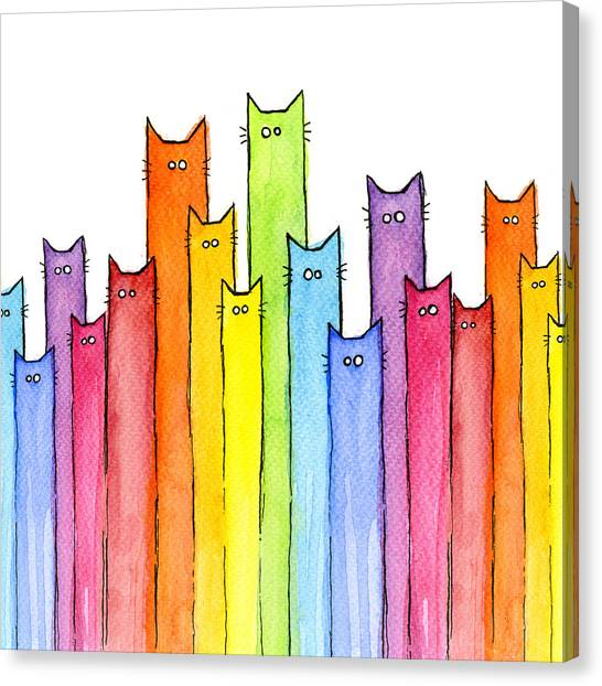 Humor Canvas Print - Cat Rainbow Watercolor Pattern by Olga Shvartsur