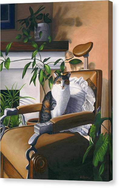 Calico Cat Canvas Print - Cat Sitting In Barber Chair by Carol Wilson