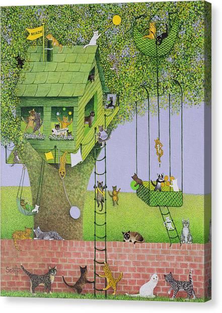 Rope Canvas Print - Cat Tree House by Pat Scott