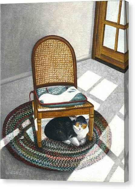 Calico Cat Canvas Print - Cat Under Rocking Chair by Carol Wilson