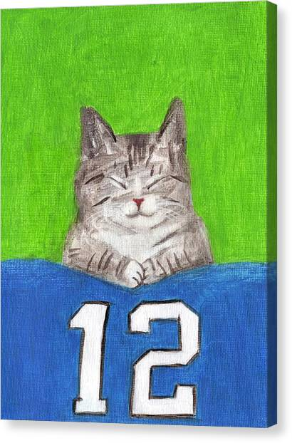 Cat With 12th Flag Canvas Print