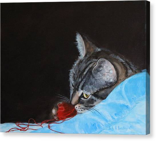Cat With Red Yarn Canvas Print