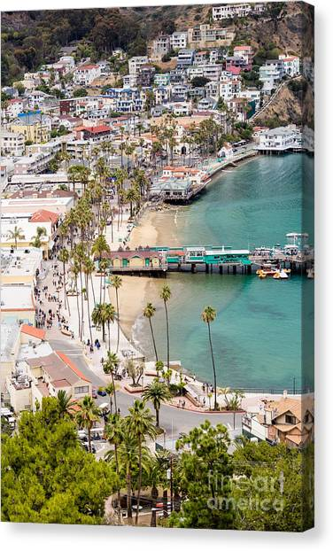 Casino Pier Canvas Print - Catalina Island Avalon Waterfront Aerial Photo by Paul Velgos