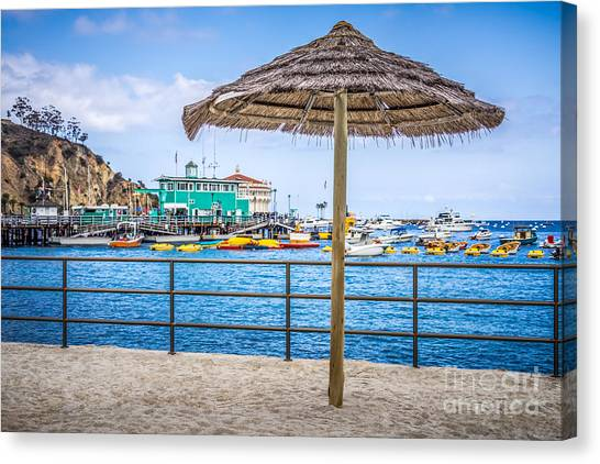 Tiki Canvas Print - Catalina Island Straw Umbrella Picture by Paul Velgos