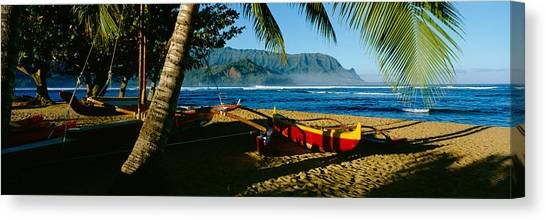 Catamarans Canvas Print - Catamaran On The Beach, Hanalei Bay by Panoramic Images
