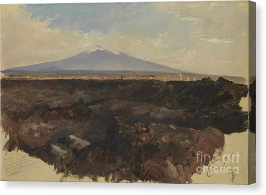 Mount Etna Canvas Print - Catania And Mount Etna by Celestial Images