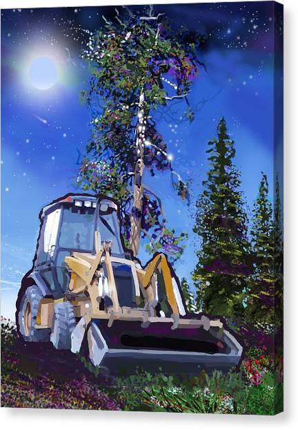 Bulldozers Canvas Print - Catapillar And Trees by Brad Burns