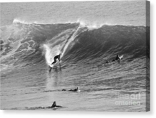 Catch A Wave Bw Canvas Print