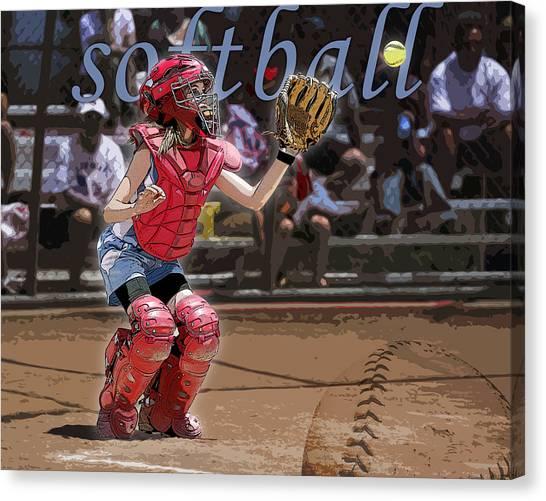 Softball Canvas Print - Catch It by Kelley King