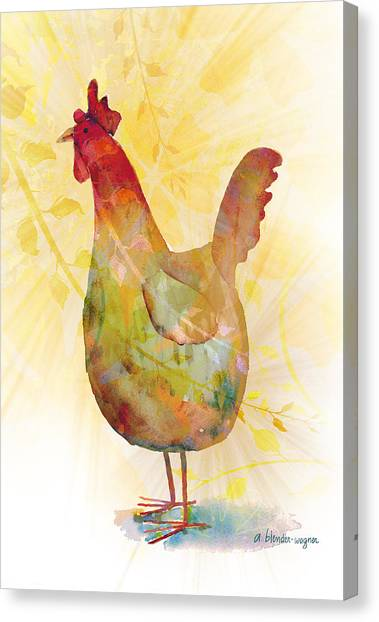 Chicken Farms Canvas Print - Catching Some Rays by Arline Wagner