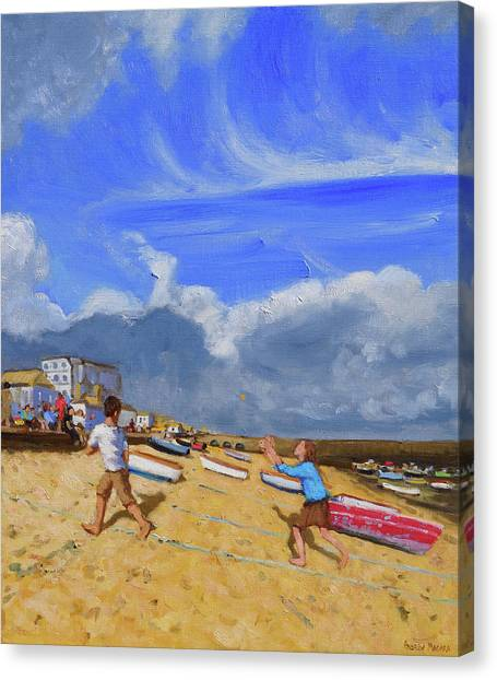 St Ives Canvas Print - Catching The Ball, St Ives by Andrew Macara