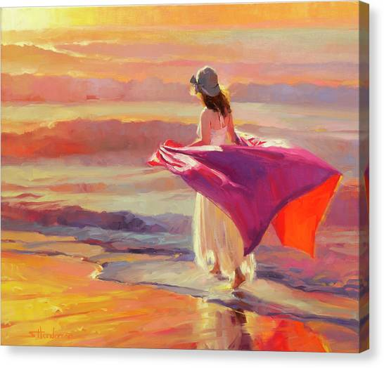 Woman Canvas Print - Catching The Breeze by Steve Henderson