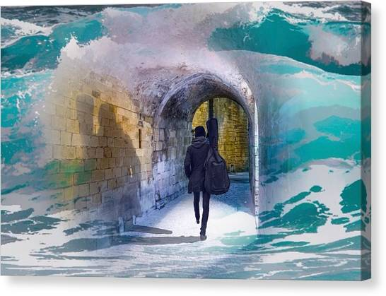 Catching The Tube With My Guitar Canvas Print