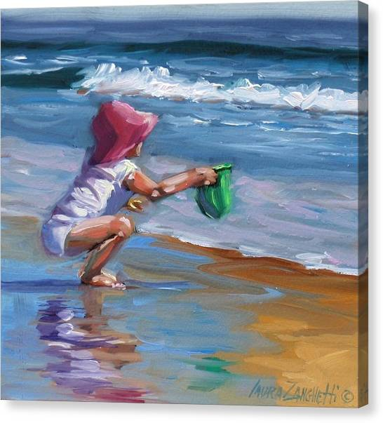 Children On Beach Canvas Print - Catching The Wave by Laura Lee Zanghetti