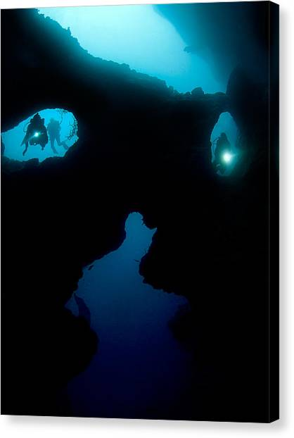 Underwater Caves Canvas Print - Cathedral At Pescador Island by Henry Jager