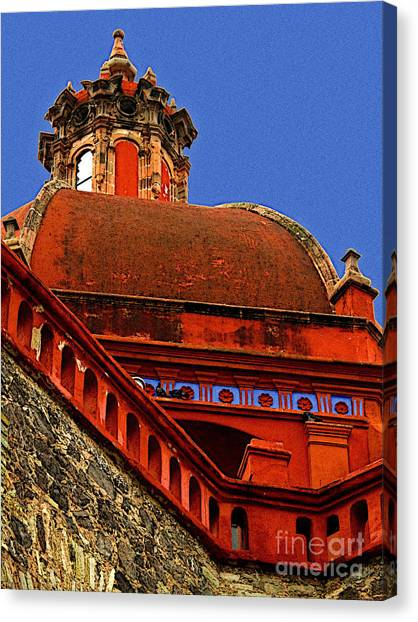 Cathedral Dome With Blue Canvas Print by Mexicolors Art Photography