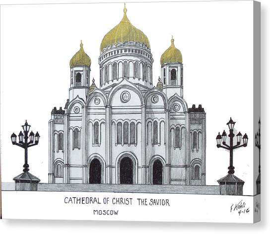 The Christ Ink Drawing Canvas Print - Cathedral  Of Christ The Savior - Moscow by Frederic Kohli